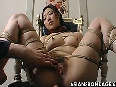 Are you into bondage? Are you into Asian porn? This is the best combination since peanut butter and jelly! Watch this hot update of sexy Japanese babe tied to a chair with her legs open and gets her hairy pussy toyed.