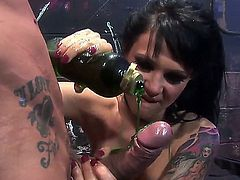 Black haired kinky Victoria Sin with natural tits and dark heavy make up sucks two randy studs and enjoys getting her shaved minge and round delicious ass fucked balls deep.
