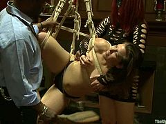 Tied up and blindfolded chick gets her pussy fingered and toyed. Later on she gets whipped and face fucked.