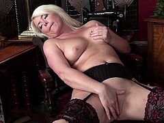 A blonde fucking mature whore gets naked and fucking masturbates for the camera so you can get off to her getting off. Check it out!
