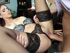 Cum addicted brunette secretary in black stockings knows how to relax after the tiresome day. Torrid booty chick pulls up her dress and spreads legs on the table to get cunnilingus. Spoiled brunette repays her colleague with a solid blowjob in return right in the office.