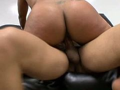 Slutty black chick is proud of her huge ass and big boobs. This mesmerizing BBW gets all sweaty while riding and sucking strong black cock for gooey sperm and orgasm. Check her out in Pornstar sex clip and you'll jizz at once.