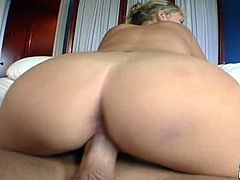 The blonde Carly Parker has big juicy boobs and a very hot big butt. Her shaved pussy is also tasty as fuck and looks great when fucked.