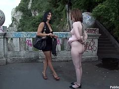 Naughty chick Sandra Romain is playing dirty games with her friends in the street. She lets them tie her up and gets her vag fingered and pounded.