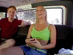 Watch this blonde hottie's amazing ass clap in this hardcore bang bus scene as she rides a big cock until her face's covered by cum.