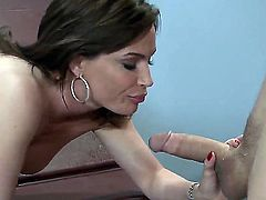 One of a kind brunette milf Diamond Foxxx with jaw dropping gigantic gazongas gives head to young dude Chris Johnson with long shaft and gets rammed in awesome doctor fantasy.