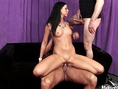 Slim brunette moans hard while horny studs drills her in doggy style. Later she rides one dude and gives steamy blowjob to another one.