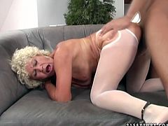 She is lustful granny who loves big cocks of young studs. So she seduces one for sex. He punishes dirty granny by banging her cunt like there no tomorrow. He gives her huge creampie.