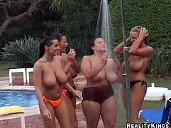 You won't see these big breasted chicks having sex. Instead you will watch how they have fun at pool party. Their boobs are so big that bounce when they swim and walk around the pool.