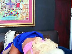 Horny blonde MILF Alura Jenson gulps down Seth Gambles big fat dick before being boned hard