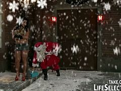 Watch these perverse blondes and brunettes enjoying wild Xmas pleasures. They play sexy lesbian games before getting fucked by Santa!