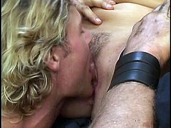 Blonde babe gets her tight vag drilled right in one nasty hardcore porn scene