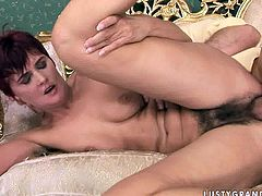 Ample brunette bitch rides a kinky dude reverse cowgirl with her hairy cunt before switching to cowgirl and later sideways poses in sizzling hot sex video by 21 Sextury.