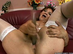 Skanky red-haired grandma strokes her body wearing dirty white lingerie and stockings before she inclines to stiff cock to suck it zealously in pov sex scene by 21 Sextury.