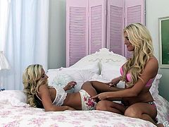 The blonde was reading a book when her girl entered the room. She's amazed by the fact that her gf reads a book, well, it's a sex book so that explains a lot! The sluts begin to act naughty and get naked. She leaves the book for some real action and soon the bitches give us one hell of sex show.