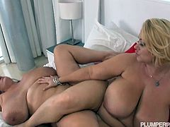 Samantha and Maria Moore are both fat beautiful lesbians. The brunette gets a pussy massage, licked and fucked with a strapon.