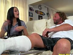Sexy brunette chick with perky titties and perfect ass gives a blowjob to a dude with a plastered leg. After that she lies down on a sofa and gets fucked rough by him.