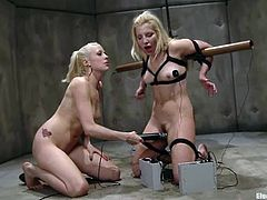 The blonde Ashley Fires is dominated by the other blonde Lorelei Lee who fucks her pussy with toys and more while she's bounded.