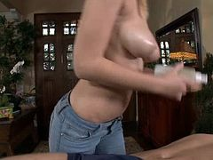 Bridgette is a sexy blonde milf and she gives a great massage. She rubs her hands on her man's legs to relieve his cramps and then licks his chest. The hot German blonde sucks on his balls and then sucks his cock. Look at her go.