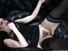 Naughty America sex clip provides you with a really hot and futuristic brunette lover. Wondrous black haired nympho wears sexy black stuff and gets her wet hairy pussy pounded missionary the way too tough by horny stud right on the small couch.