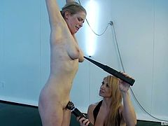 Sexy Penny gets tied up by Lea Lexis. After that she gets her tongue hit with electricity and ass toyed with big dildo.