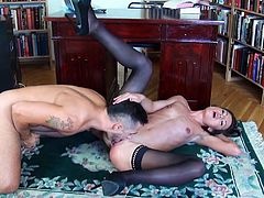 This slim and skinny brunette chick is only in her stockings and high heels which highlights her sexy butt and small boobs. Between her thighs she has a tight and shaved vagina that she gets fingered hard. All that taking place before he starts pushing his man meat in her, deep hard and fast from back