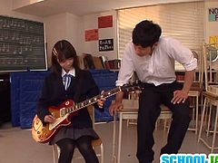 Asuka Hoshino is a petite schoolgirl who wants to lure her cassmate into sex. She succeeds and ends u with her hairy pussy fucked in the classroom.
