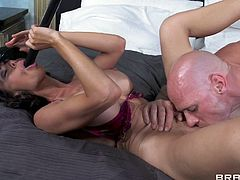 Police officer Johnny just caught a bad mommy that needs a man's hand and cock. She's a wild one so he gives her that old fashioned treatment to tame her. The mom suck his cock and when he fills her pussy with it she still needs to suck so she grabs his cane and sucks it.