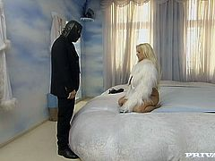 Gorgeous blonde girl gets her feet licked by a dude in a mask. Later on she gives a blowjob and gets pounded in both holes.