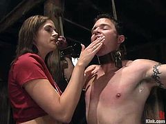 There's kinky strapon action and lots of rope bondage in this femdom video where Crissy Cums is having fun with a submissive dude.