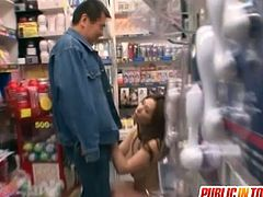 Asian momma giving public handjob to this lucky daddy inside sex shop. She will show us her horny skills for everyone to enjoy.