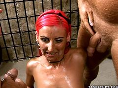 21 Sextury MMF sex clip is surely worth your attention. Spoiled talle and long legged redhead with small tits gets her wet juicy pussy licked by bald headed submissive dudes. Have a look at this harlot and be sure to jizz right away.