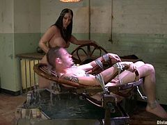Isis Love is going to play with this guy in this water fetish and femdom session packed with bondage and torturing action.