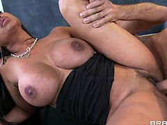 Brunette asian slut amazes with her huge tits and that lovely tight vag