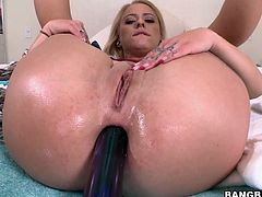 Superb blonde girl with big ass stuffs her ass with different dildos. After that she sucks a guy off and gets ass fucked.