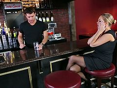 Tipsy busty blondie can't leave the bar without being fed with gooey tasty sperm. Zealous nympho with huge tits seduces horny barman. Horny dude lies onto the counter and slutty booty chick gives him a super solid blowjob right away.