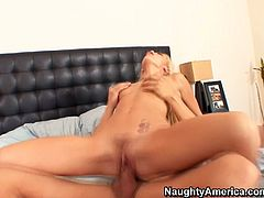Sultry blonde girl Monique Alexander rides Alex Gonz' hard stick like crazy