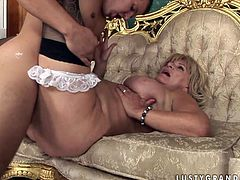Horn made fat mom in playful stockings gets fucked missionary by young lover