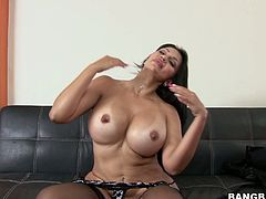 Hot chick with big ass and boobs sits on guy's face. After that she she gives a blowjob and gets fucked from behind.