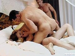 Sexy angel Henessy is being triple penetrated