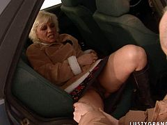 Horny mature woman is getting her pussy finger fucked upskirt sitting in the car on the back seat. Then she sucks dick like tasty lollicock. Later, granny bends over getting banged bad from behind.