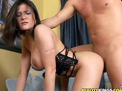 A busty brunette slut sucks on a hard prick and gets it shoved balls deep into her motherfucking wet gash, hit play and check it out!