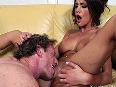 Stunning brunette girl August Ames with insane sex hunger seduces Ryan McLane for passionate sex. So she takes off her knicker spreading legs wide. Ryan delves his tongue inside throbbing vagina of fierce porn model August Ames.