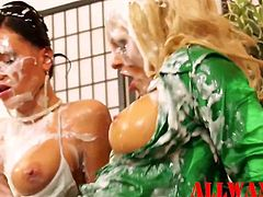Slimy strapon horny babes rubbing each other in a exiting way Just watch and enjoy