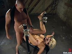 Gia Paloma is the blonde who is going to get dominated in this bondage session packed with rough hardcore sex.