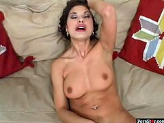 Cuddly brunette MILF Tera Joy strokes her mind taking body covered with passionate red lingerie and stockings before she lies to finger soaking pussy. Later she gets it fucked missionary style.