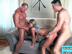 This horny blonde bitch has no limits when it comes to hardcore sex. She is fucking two horny studs getting their dicks deep in her shaved wet pussy and throat.Enjoy!