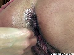 21 Sextury xxx clip is what you need tonight for delight. Slutty brunette with saggy tits spreads legs wide and gets her wet mature cunt fisted by spoiled slim girlie right on the couch.