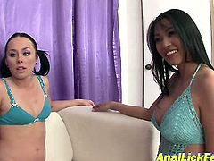 Slender Asian brunette and kinky girlie with pigtails strip on cam without any hesitation to boast of pale natural tits. These brunette nymphos in blue lingerie is worth checking out in Pornstar sex clip to jerk off a bit for delight.