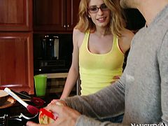 Alluring babe Allie James strips in the kitchen seducing Kurt Lockwood